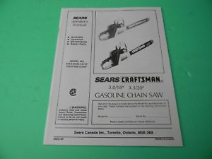 craftsman 18 chainsaw owners manual
