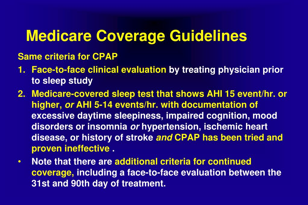 Medicare guidelines for cpap and bipap