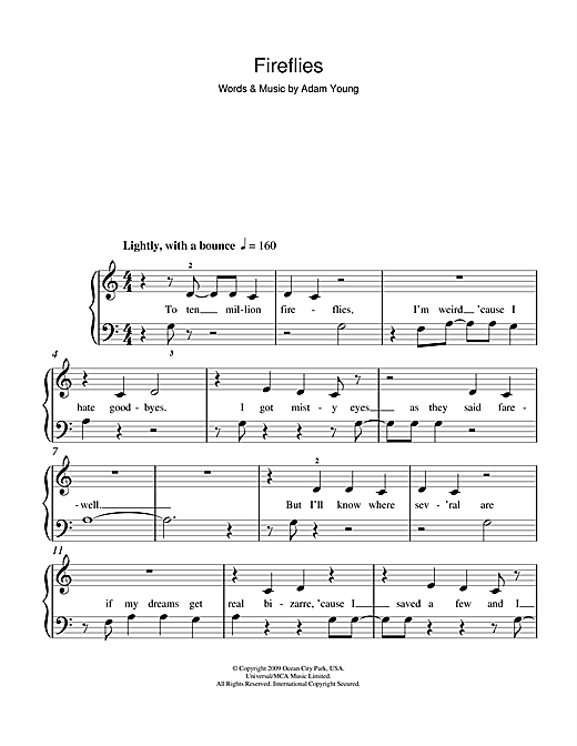 Fireflies free sheet music pdf